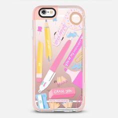 Back To School Stationery Art - New Standard iPhone 6/6S #Protective Case in Peach Pink by @rachelcorcoran #phonecase | @casetfiy
