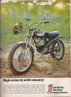 1970 Harley-Davidson Baja Motorcycle Advertisement Hot Rod November Even though this is not a good dirt bike, it is a dirt bike and I am sure a lot of people had fun riding them. Vintage Bikes, Vintage Motorcycles, Dirt Motorcycles, Vintage Ads, Street Tracker, Royal Enfield, Harley Dirt Bike, Amf Harley, Cb 450