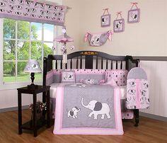 Baby-Girl-Elephant-13-Piece-Nursery-CRIB-BEDDING-SET