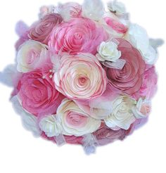 This lovely bouquet is made using different shades of Mauve, Pink, Rose, burgundy and ivory coffee filter paper Roses with coordinating pearl sprays, tiny foam Roses and organza Rose buds with ivory and pink tulle mixed into and surrounding the flowers. The handle is wrapped in ivory satin ribbon, ivory lace and delicate ivory bows.