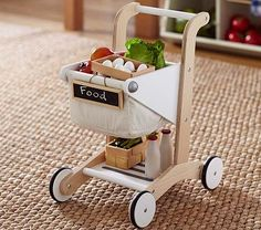 Wooden Shopping Cart #PotteryBarnKids  I can just my Vivian bebopping with all her play food!! Looking forward to SWEET memories