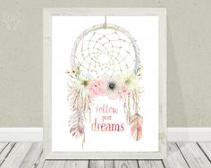 Dreamcatcher watercolor vintage printable floral wall art tribal wild heart baby girl feathers follow dreams nursery home decoration print by DoradaPrintables on Etsy https://www.etsy.com/listing/242383845/dreamcatcher-watercolor-vintage