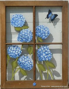 Panes of Art, Barn Quilts, Hand Painted Windows, Window Art, Decorative Window P. Old Windows Painted, Painted Window Panes, Window Pane Art, Painting On Glass Windows, Glass Painting Designs, Paint Designs, Window Glass, Window Frames, Vintage Windows