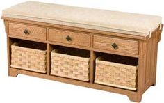 Amish Outlet Store : Lattice Weave Drawer Bench in Maple (Brown)