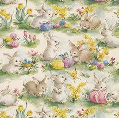 Vintage Gift Wrap Easter Bunnies