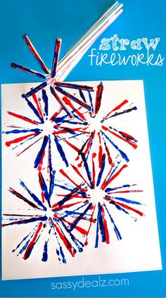 Have your kids make this fireworks craft using a bunch of straws as a stamper! It's a quick and easy 4th of July or Memorial Day art project!