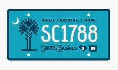 State Plates Project – South Carolina designed by Jay Fletcher. the global community for designers and creative professionals. Southern Expressions, Palmetto Tree, Black Color Palette, Southern Accents, Tag Design, South Carolina, Design Inspiration, License Plates, Projects