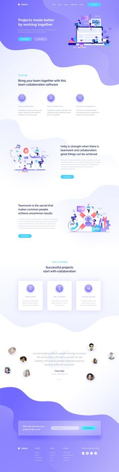 Dribbble - team_collaboration_landing_page.jpg by simantOo Design Responsive, Web Design Tips, Web Design Trends, Ux Design, Flat Design, Website Layout, Web Layout, Website Design Inspiration, Maquette Site Web