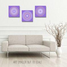 Vibrant purple artwork set of 3 prints home by FeatherAndIndigo