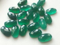 5 Pcs Green Onyx Rose Cut Cabochons Faceted Oval by gemsforjewels