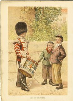 1889 Victorian Soldier  Antique Print-  Soldier Playing Drums Military Uniform. Ideal For Framing