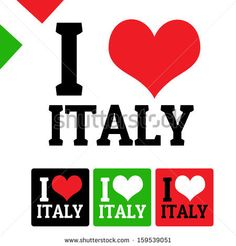 I love Italy sign and labels on white background, vector illustration