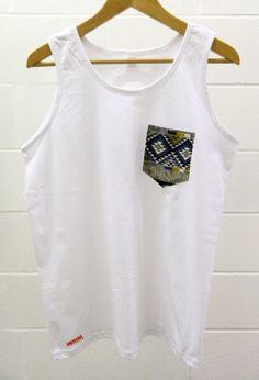 Men's Aztec Design White Pocket Tank Top, Men's T- Shirt, Pocket tee, Unisex, Menswear, UK
