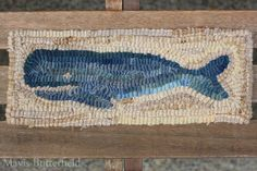 Small Primitive Hooked Whale Rug New England by MavisButterfield