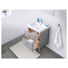 HEMNES grey, Wash-stand with 2 drawers, cm. Perfect in a small bathroom since the wash-basin cabinet is shallow. Smooth-running and soft-closing drawers with pull-out stop. You can easily see and reach your things because the drawers pull out fully. Bathroom Mixer Taps, Ikea Bathroom, Grey Bathrooms, Small Bathroom, Bathroom Ideas, Family Bathroom, Bathroom Cabinets, Vanity Units, Vanity Cabinet