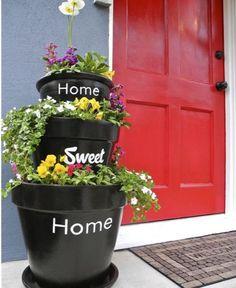 15 Excellent DIY Backyard Decoration & Outside Redecorating Plans 9 Home Sweet Home Pots - All About Garden Jardim Vertical Diy, Vertical Garden Diy, Vertical Gardens, Diy Garden, Garden Art, Garden Ideas, Tiered Garden, Diy Planters, Garden Planters