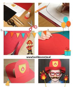Brandweerhelm maken voor brandweerfeestje. Gratis sjabloon download! Firefighter Crafts, Firefighter Birthday, Boy Birthday, Infant Activities, Activities For Kids, Fireman Hat, Art For Kids, Crafts For Kids, Paper Bag Crafts
