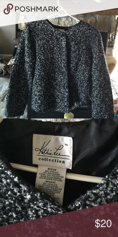 Black grey jacket. Long sleeve lined jacket. Great as a buttoned up top or wear as jacket. Six buttons  not a heavy jacket. Kathie lee Jackets & Coats
