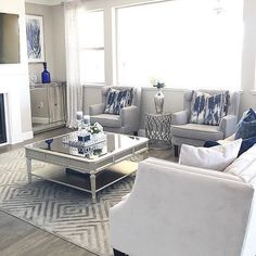 16 cozy neutral living room ideas 2 - Home decor cozy Navy Living Rooms, Blue Living Room Decor, Glam Living Room, Elegant Living Room, Coastal Living Rooms, Living Room Grey, Home And Living, Living Room Designs, Modern Living