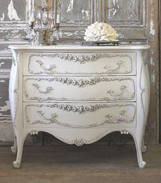 """Antique french dresser bombe chest by FullBloomCottage on Etsy- chest style is called """"bombe"""" French Furniture, Refurbished Furniture, Paint Furniture, Shabby Chic Furniture, Furniture Makeover, Vintage Furniture, Furniture Design, Furniture Storage, Contemporary Furniture"""