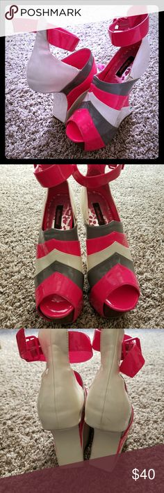 Heels Pink, gray, and white open toe heels. Gently used shoes, in good condition. Has a few small scuff marks on the back shown in picture above. Shoes Heels