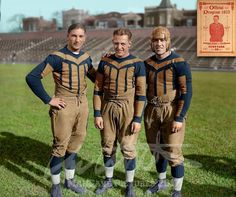 Frank Hanny, Red Grange, Jim McMillen, of the Chicago Bears in Taken at Cubs Park, (now Wrigley Field). Restored and Colorized by Me. Nfl Football Players, Bears Football, Football Gif, Football Photos, Football Memes, Nfl Bears, Cubs Baseball, Football Stuff, Sport Football