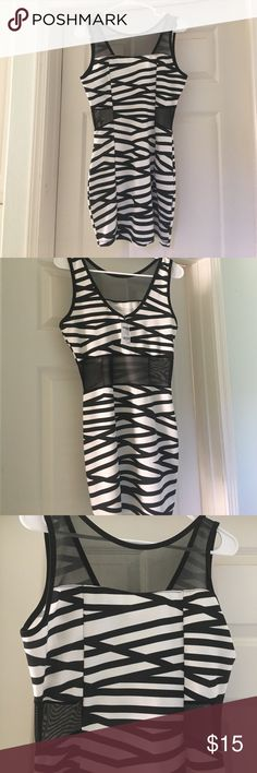 Charlotte russe starlight night dress Charlotte russe starlight night dress. Sexy Mesh see through front and back. Sexy mesh front.  Sexy zebra type pattern. Never worn. Tags still on. Charlotte Russe Dresses Midi