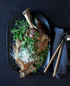 Australian Gourmet Traveller recipe for lamb shoulder braised in wine with peas and pecorino.