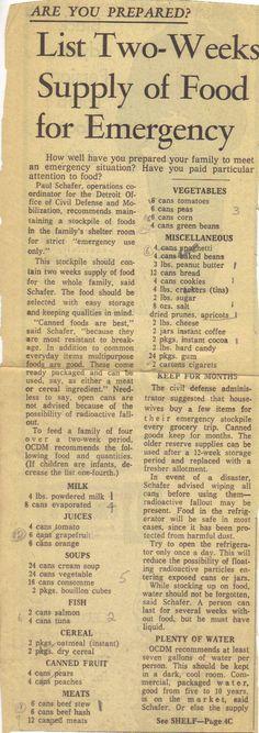 survival food list | Emergency Food List