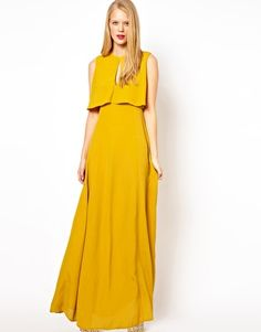 Image 1 of ASOS Maxi Dress With 70's Cape Neck Detail