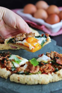 Paleo Breakfast Pizza - Replace egg w/ chia or other replacer and it can be AIP Paleo Pizza, Pizza Recipes, Brunch Recipes, Paleo Recipes, Real Food Recipes, Breakfast Recipes, Cooking Recipes, Breakfast Ideas, Breakfast Pizza