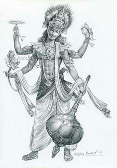 Vishnu by Sanjay Prasad Shiva Art, Ganesha Art, Krishna Art, Hindu Art, Krishna Tattoo, Clay Ganesha, Lord Ganesha Paintings, Lord Shiva Painting, Krishna Painting