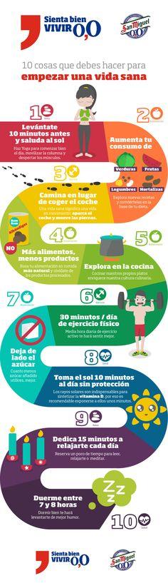 10 cosas a hacer para empezar una vida sana #Infografia de @ainaragm