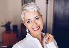 See how a pixie has the power to take ages off your face! Find your next signature look here. Pixie Haircut Fine Hair, Women Pixie Haircut, Pixie Hairstyles, Straight Hairstyles, Pixie Haircuts, Super Short Hair, Short Grey Hair, Gray Hair, Blonde Hair