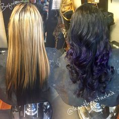 Black going into violet balayage ombre