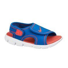 Sandalia chancla Nike Sunray Adjust velcro azul y naranja