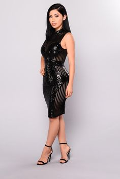 Girl On Top Sequin Dress - Black