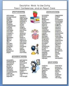 Report Card Comments A List Of Adjectives To Make Writing