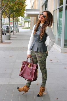 Peplum, studs, and camo are some of my favorite current trends. Love this outfit (except the boots)