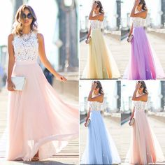 Women Ladies Wedding Bridesmaid Evening Party Ball Prom Gown Cocktail Maxi Dress   eBay