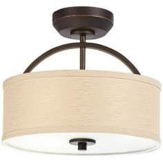 Ceiling fan hidden in shade finally me and my husband can agree danville linen drum shade bronze ceiling fan light kit aloadofball Gallery