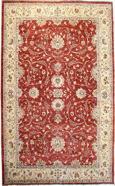 Oriental area rug with cherry red base and beige trim