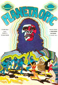 Czech movie poster for Planet of the Apes,(1968) starring Charlton Heston, Roddy McDowall, Kim Hunter and Maurice Evans. Directed by Franklin J. Schaffner.