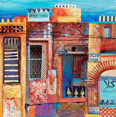 very detailed patchwork of moroccan buildings, mixed media Travel art Collages, Mixed Media Collage, Collage Art, City Collage, Painting Inspiration, Art Inspo, Moroccan Art, Kitsch, Travel Drawing