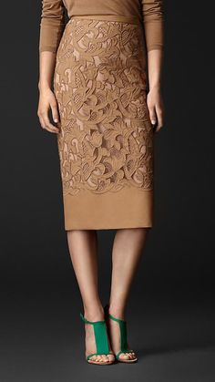 CLASSIC PENCIL AMPED UP:: TEXTURE, FLORAL DETAIL ~~ BURBERRY RTW classic pencil silhouette, cut-out floral design. I love the monotone theme here with the camel sweater but with the added punch of the green heel. But also a great piece when paired with a pretty pastel. See link. @Burberry