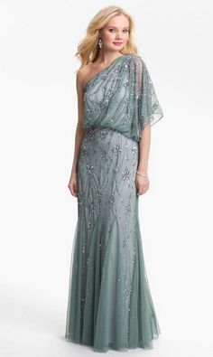 Adrianna Papell One Shoulder Gown Size 6  Blue Silver Beaded Blouson  NWT BRIDES