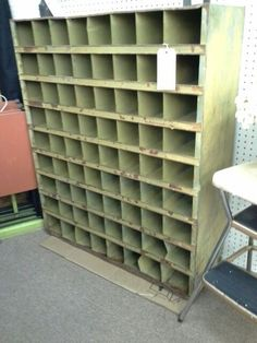 $195 - This is a vintage Green industrial parts bin - Several shades of paint remaining as well as natural patina. Total of 72 bins. - ***** In Booth C9 at Main Street Antique Mall 7260 E Main St (east of Power RD on MAIN STREET) Mesa Az 85207 **** Open 7 days a week 10:00AM-5:30PM **** Call for more information 480 924 1122 **** We Accept cash, debit, VISA, Mastercard, Discover or American Express
