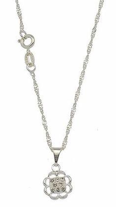 gargantilha foheada a prata e pingente em forma de flor