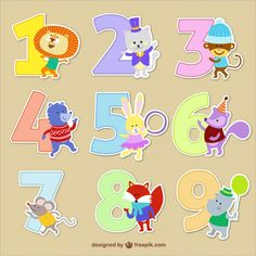 Numbers with Animal Cartoons Free Vector