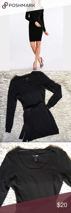 """Scoop Neck Sweater DressLike New Black scoop neck sweater dress from H&M. Has a self tie belt. Stretchy and silky soft material hugs the body. Shoulder to hem is approximately 34"""" Dress is in like new condition. There's is a teeny tiny bump on the right bust area. It's not a pull. It's not noticeable but want to disclose all. H&M Dresses Long Sleeve"""